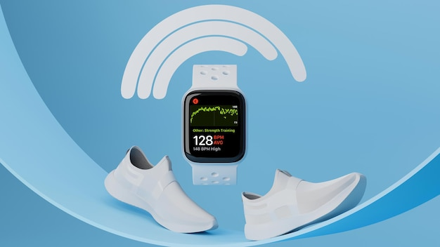 Dispositivo de esporte smartwatch com maquete de relógio esportivo com tênis de corrida branco em fundo geométrico azul