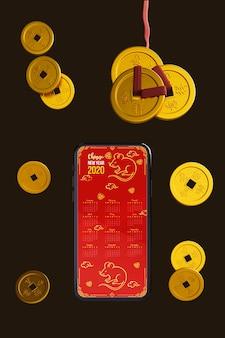 Dispositivo de smartphone com decorações douradas