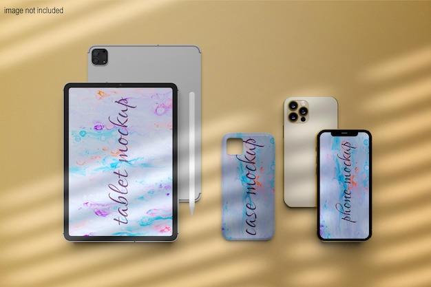 Dispositivo digital de maquete de tela de tablet e telefone