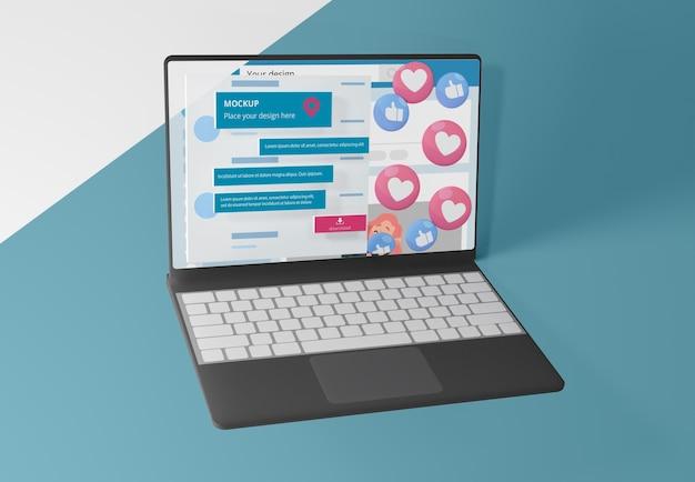Dispositivo mock-up com plataforma de mídia social