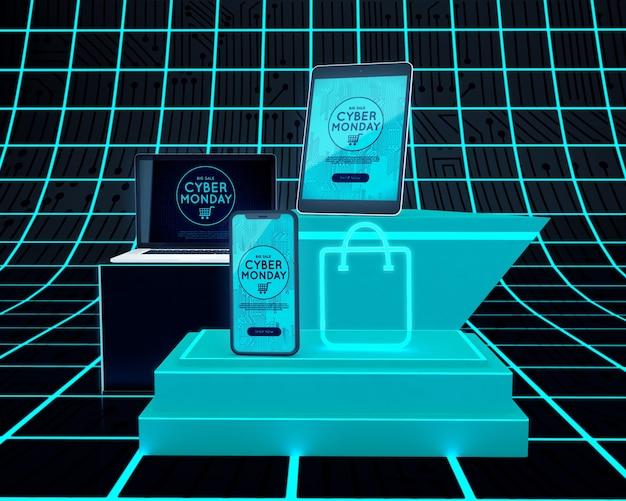 Dispositivos de alta tecnologia ao lado da bolsa de néon