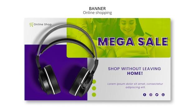 Dispositivos de modelo de banner horizontal loja online mega venda