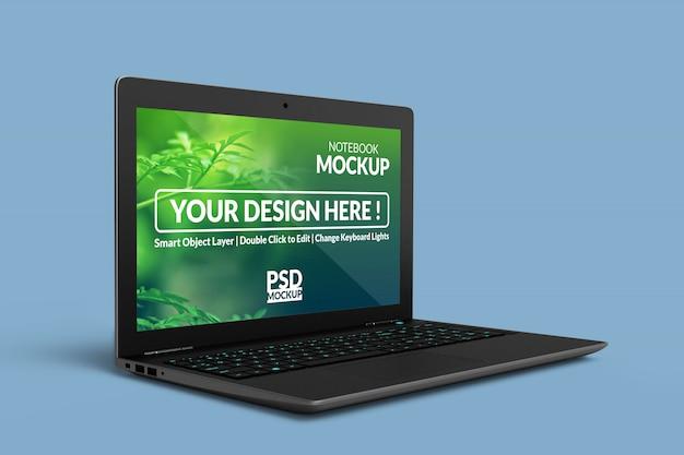 Dispositivos de notebook realistas de alta qualidade exibem mock up