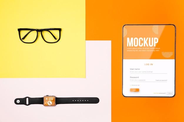 Dispositivos de visão superior e disposição dos óculos