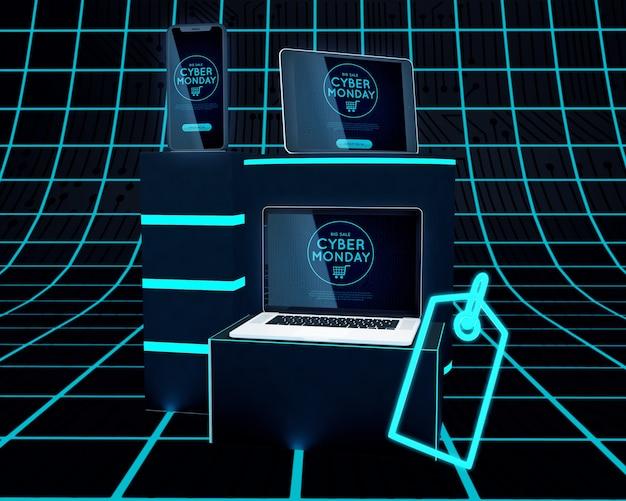 Dispositivos eletrônicos cyber segunda-feira com desconto de venda