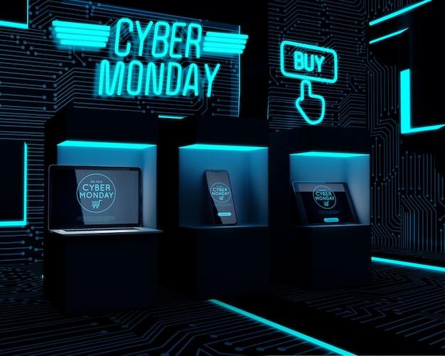 Dispositivos eletrônicos expostos para venda na segunda-feira cibernética
