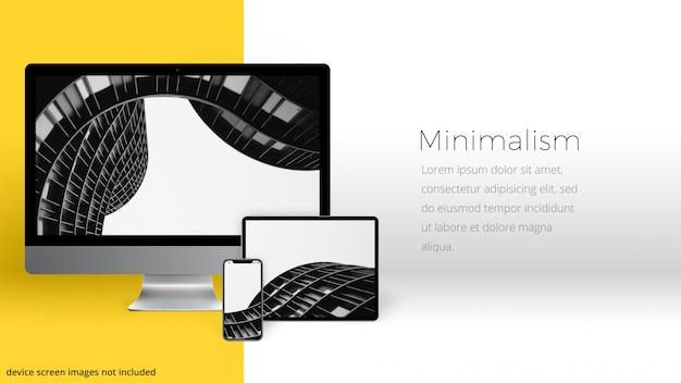 Dispositivos em uma sala minimalista