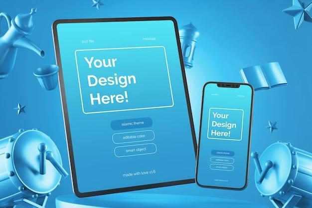 Dispositivos móveis voadores definem maquete de composição de renderização em 3d tema islâmico eid mubarak