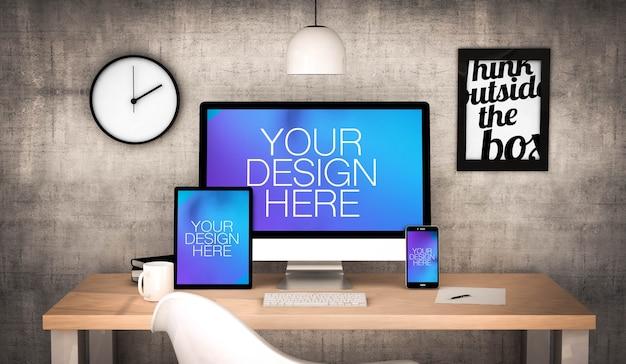 Dispositivos responsivos em uma simulação de desktop