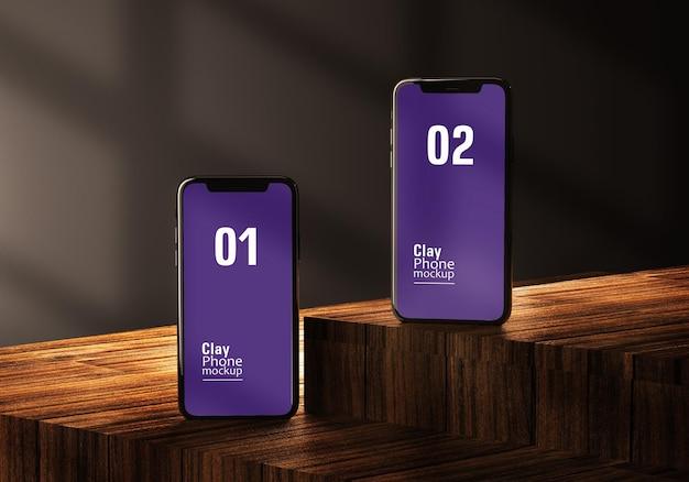Dispositivos smartphones ou multimídia com textura de madeira