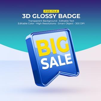 Distintivo 3d brilhante brilhante com maquete para grande venda