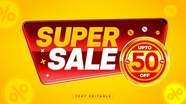 Distintivo 3d brilhante com composição de super venda vermelha com 50% de desconto