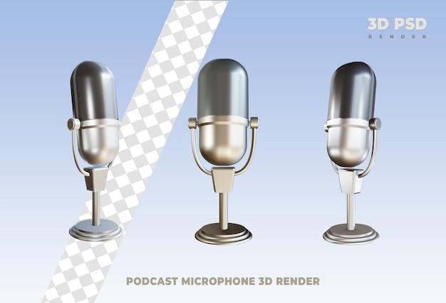 Distintivo de ícone de renderização 3d de podcast de microfone isolado
