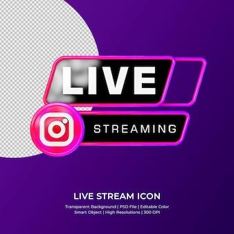 Distintivo de ícone de renderização 3d de streaming ao vivo do instagram isolado