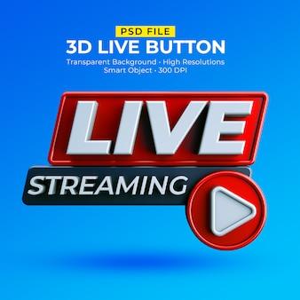 Distintivo de transmissão ao vivo 3d isolado