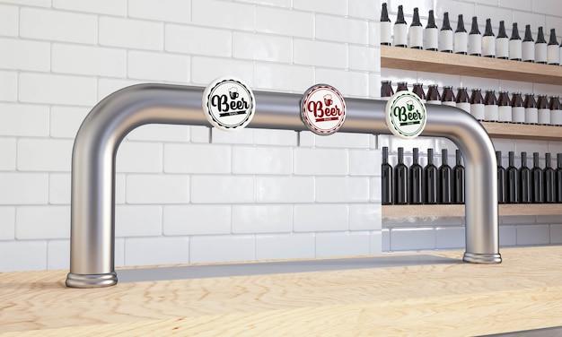 Distribuidor de cerveja na maquete do balcão do bar