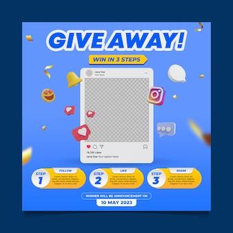 Distribuir modelo de postagem de mídia social para concurso
