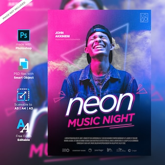 Diversão de música e modelo neon flyer design criativo impressão pronto