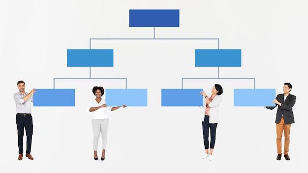 Diversas pessoas com um gráfico de hierarquia