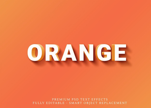 Divertido laranja efeito de estilo de texto 3d psd