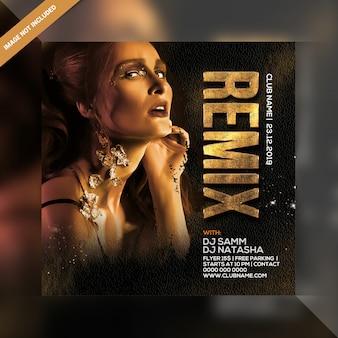 Dj remix festa panfleto quadrado