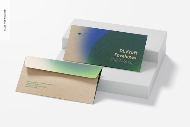 Dl kraft envelopes mockup, perspectiva