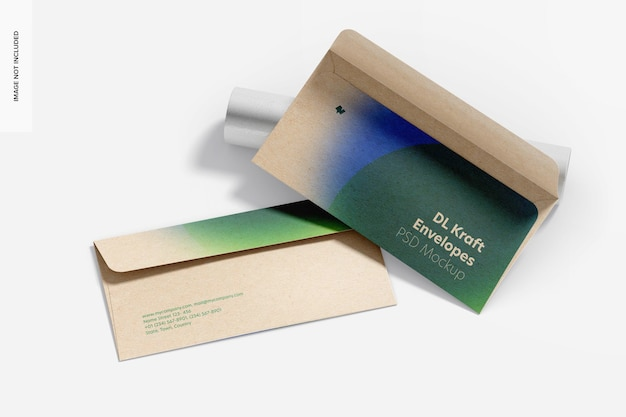 Dl kraft envelopes mockup