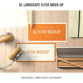 Dl landscape flyer mockup on desk