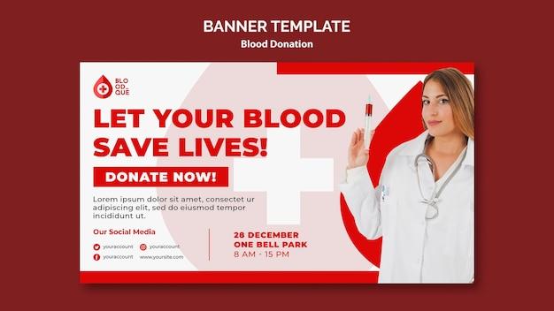 Doando modelo de banner de sangue