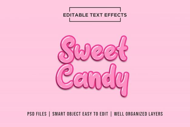 Doce rosa doce, efeitos de texto 3d premium psd