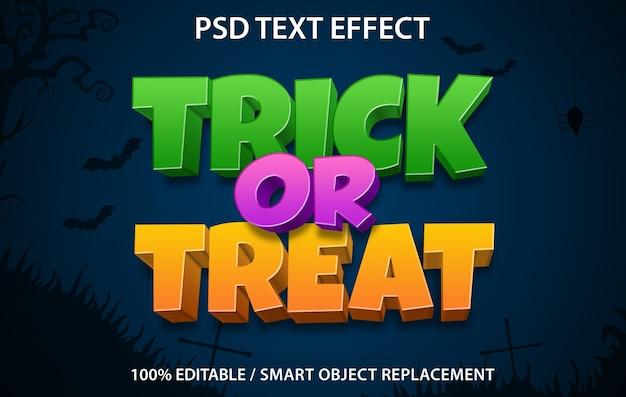 Doces ou travessuras com efeito de texto editável