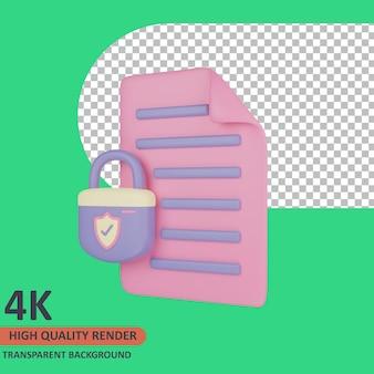 Documento 3d cyber icon ilustração renderização de alta qualidade