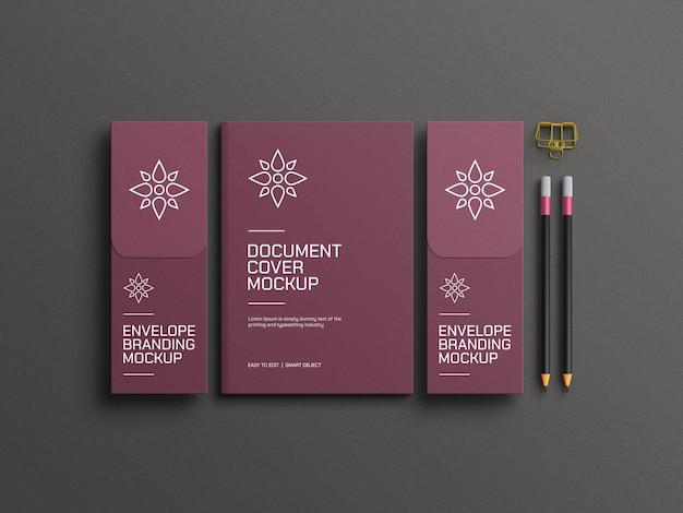 Documento a4 elegante com maquete de envelope