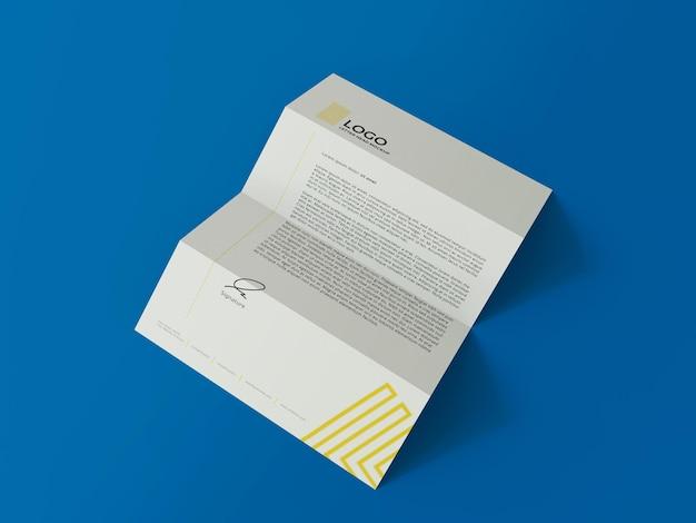 Documento de negócios, mockup 3d, render