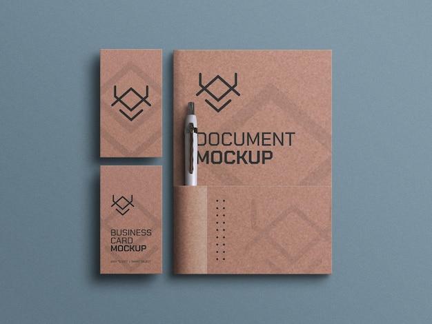 Documento em papel artesanal com maquete de cartões de visita