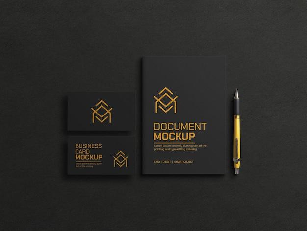 Documento escuro com maquete de cartão de visita