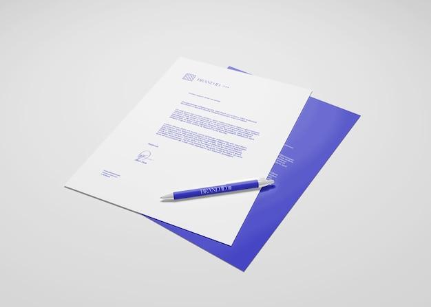 Documentos corporativos, papel timbrado mockup