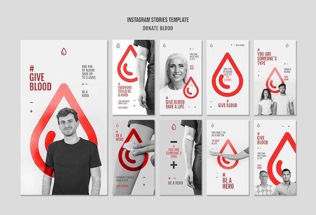 Doe histórias de campanha de sangue no instagram