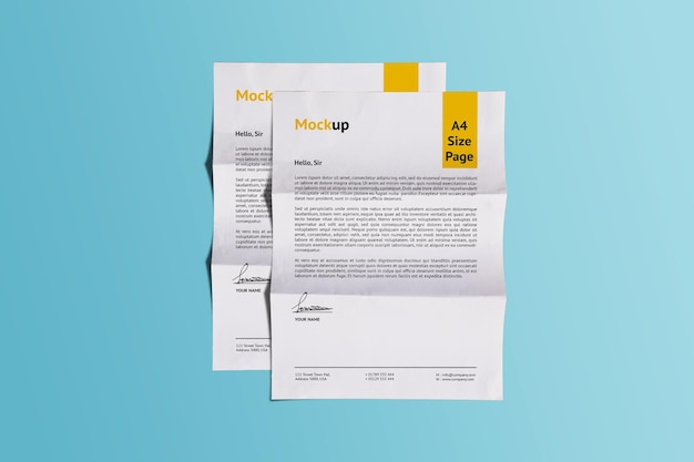 Dois a4 realistic fold paper mockup design rendering isolado