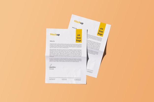 Dois a4 realistic paper mockup design rendering isolado