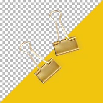 Dois clipes de papel dourados isolados