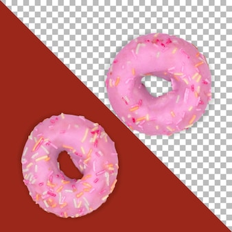 Dois donuts rosa isolados com esmalte