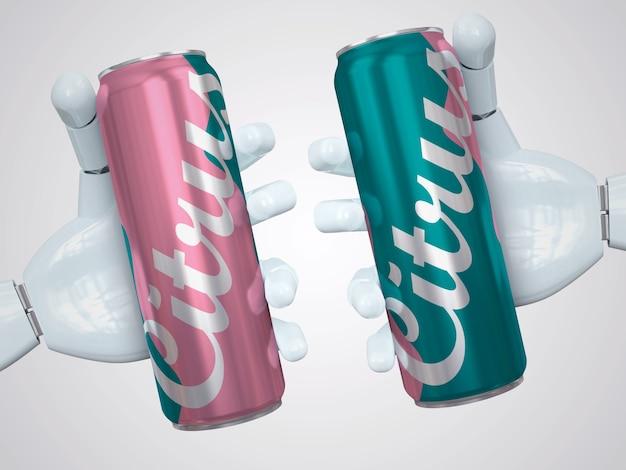 Dois maquete de lata de refrigerante slim realistas segurando com a mão