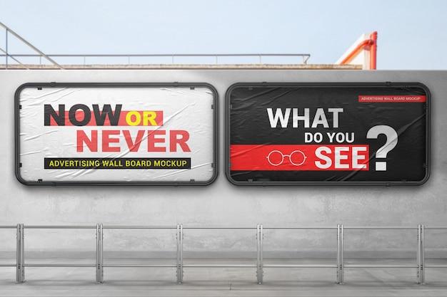 Dois maquete de placas de parede de publicidade