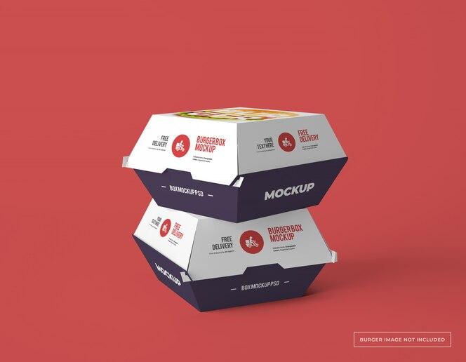 Dois modelos de embalagens de caixa de hambúrguer