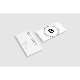 Dois, negócio, cartão, branca, fundo, maquete, cima