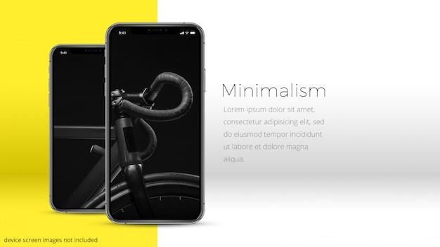 Dois pixel perfeito iphone xs em um quarto mínimo, uhd mockup