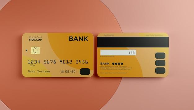 Dois simulados de cartão de crédito com plano de fundo do palco.