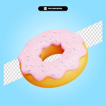 Donut 3d render ilustração isolada