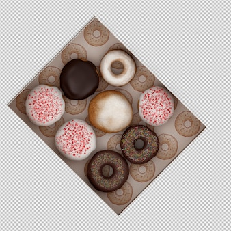 Donuts 3d isolado render